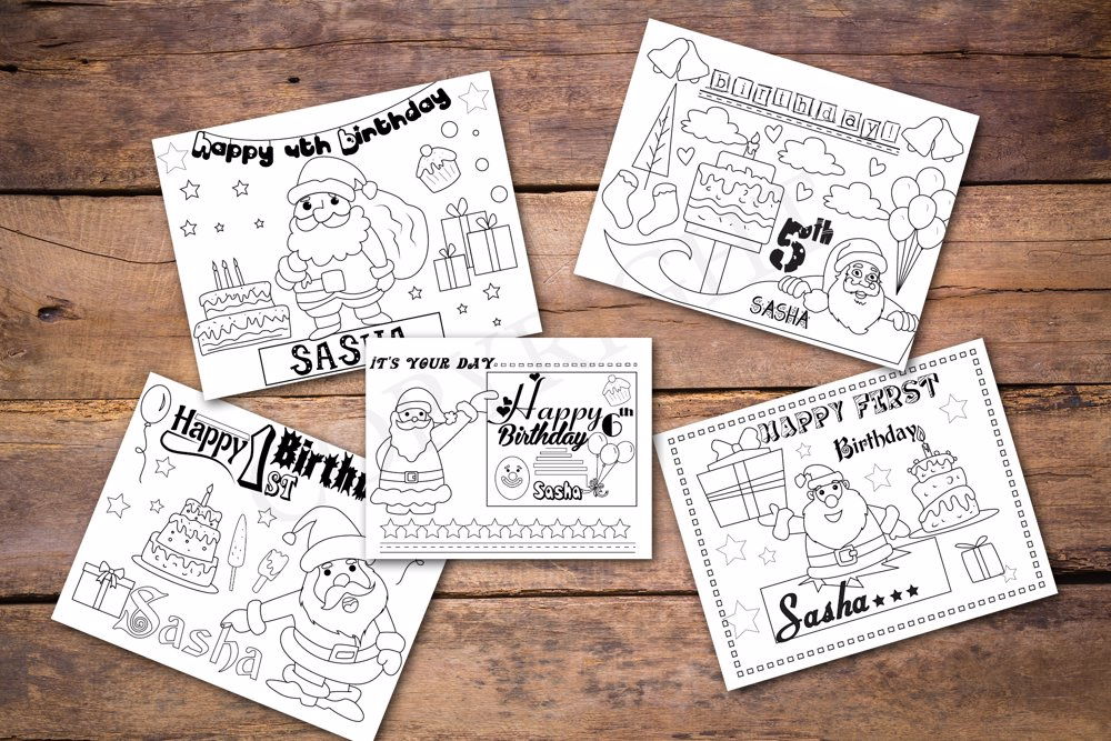 Santa Theme Personalized Birthday Coloring Book