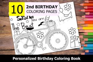 2nd Birthday Theme Personalized Birthday Coloring Book