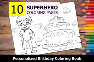 Superhero Theme Personalized Birthday Coloring Book