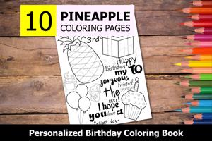 Pineapple Theme Personalized Birthday Coloring Book