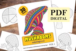 Mushrooms Coloring Book for Adults