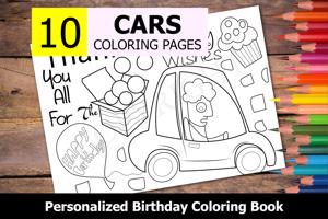 Cars Theme Personalized Birthday Coloring Book