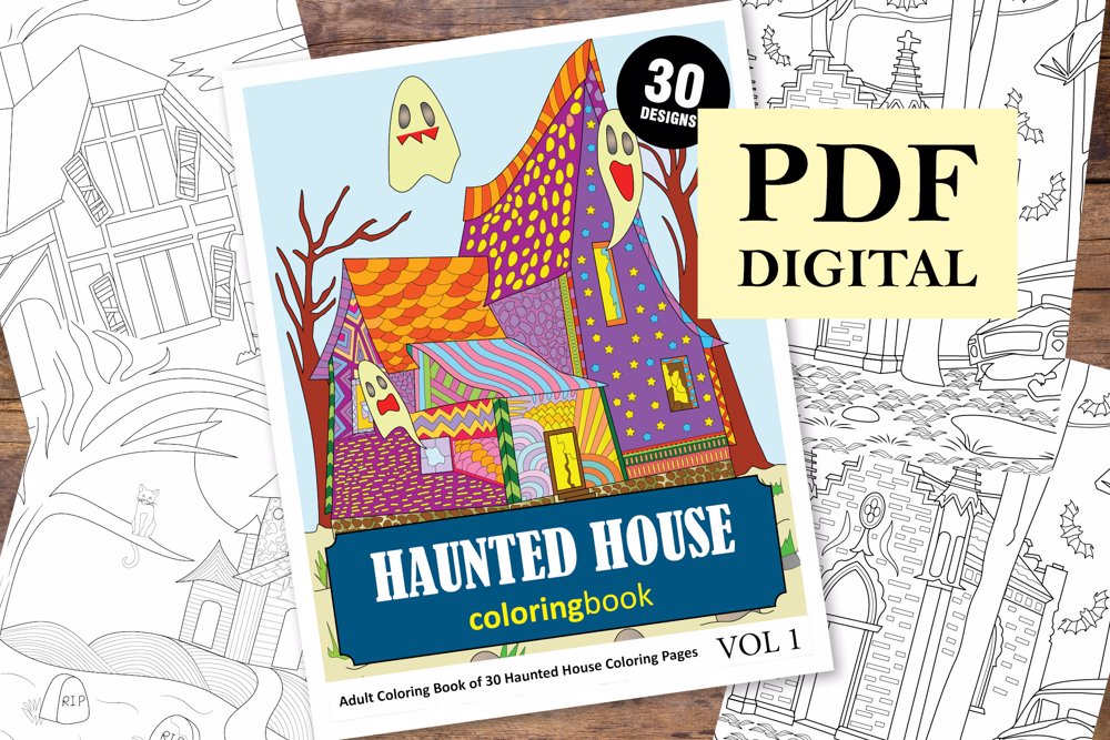 Haunted House Coloring Book for Adults