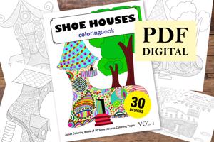 Shoe Houses Coloring Book for Adults