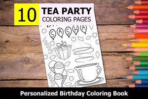 Tea Party Theme Personalized Birthday Coloring Book