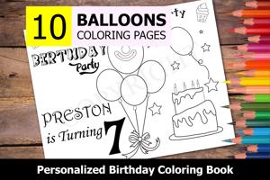 Balloons Theme Personalized Birthday Coloring Book