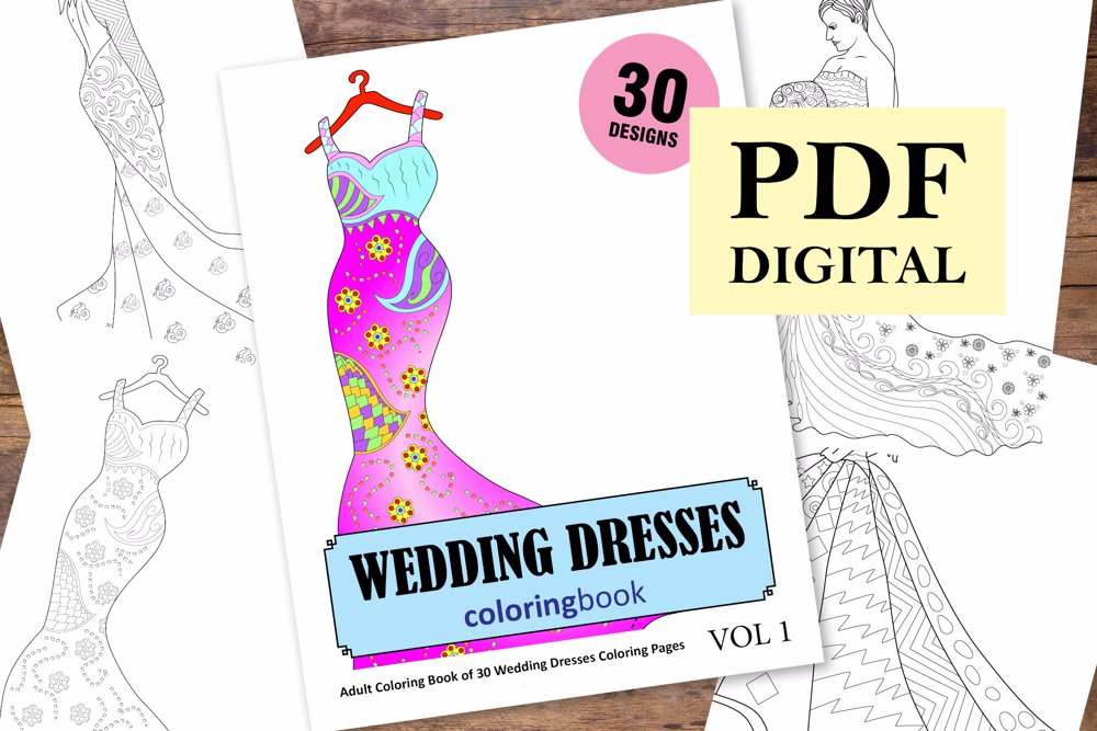 Wedding Dresses Coloring Book for Adults