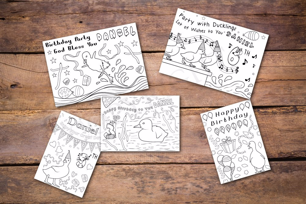 Ducklings Theme Personalized Birthday Coloring Book