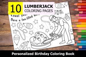 Lumberjack Theme Personalized Birthday Coloring Book