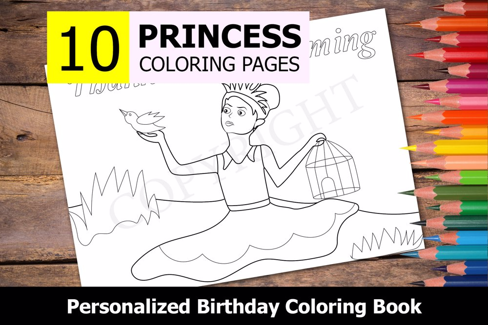 Princess Theme Personalized Birthday Coloring Book