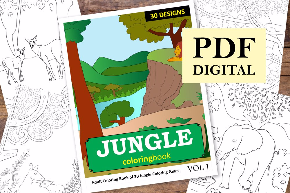 Jungle Coloring Book for Adults