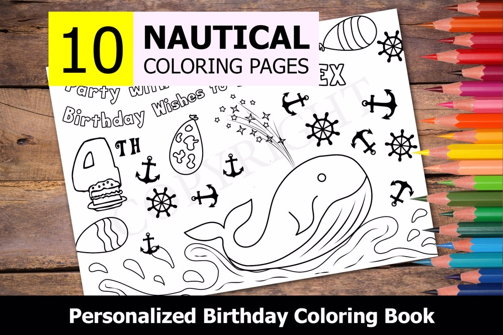Nautical Theme Personalized Birthday Coloring Book