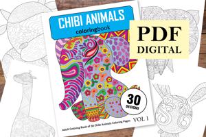 Chibi Animals Coloring Book for Adults