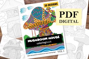 Mushroom House Coloring Book for Adults