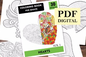 Hearts Coloring Book for Adults