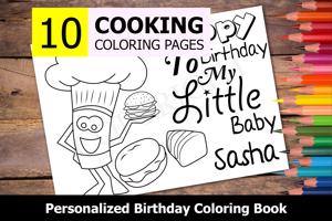 Cooking Theme Personalized Birthday Coloring Book
