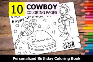Cowboy Theme Personalized Birthday Coloring Book