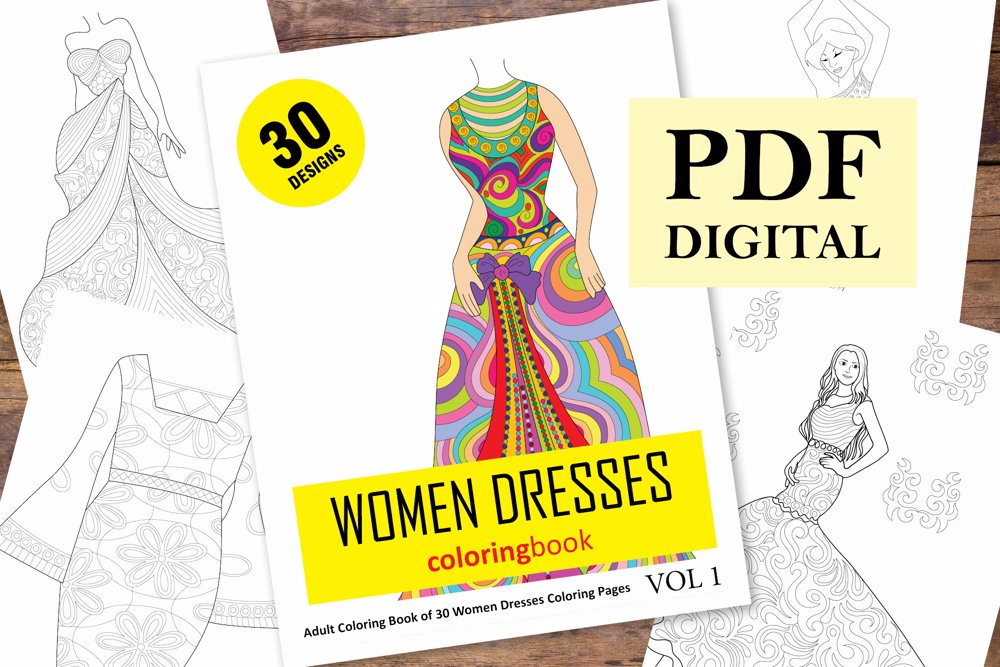 Women Dresses Coloring Book for Adults