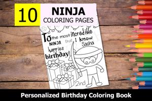 Ninja Theme Personalized Birthday Coloring Book