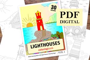Lighthouses Coloring Book for Adults