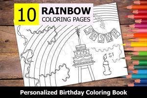 Rainbow Theme Personalized Birthday Coloring Book
