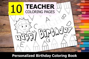 Teacher Theme Personalized Birthday Coloring Book