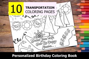 Transportation Theme Personalized Birthday Coloring Book