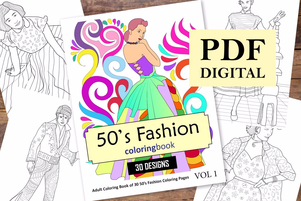 50s Fashion Coloring Book for Adults