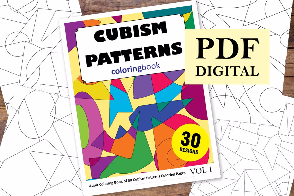 Cubism Patterns Coloring Book for Adults