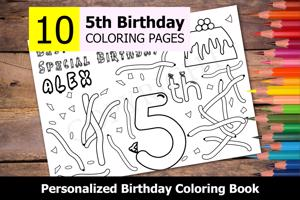 5th Birthday Theme Personalized Birthday Coloring Book