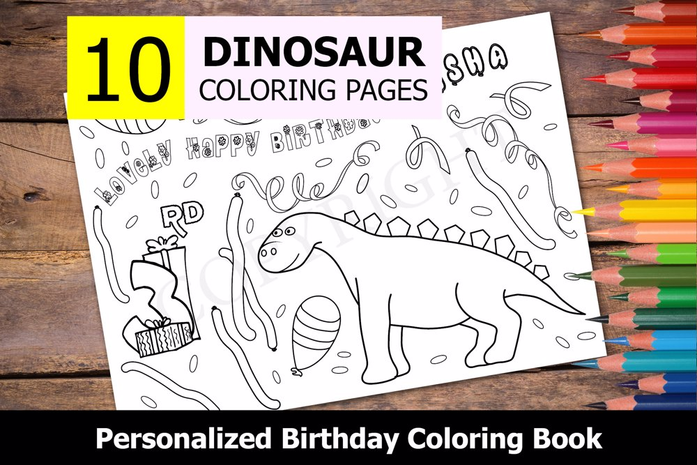 Dinosaur Theme Personalized Birthday Coloring Book