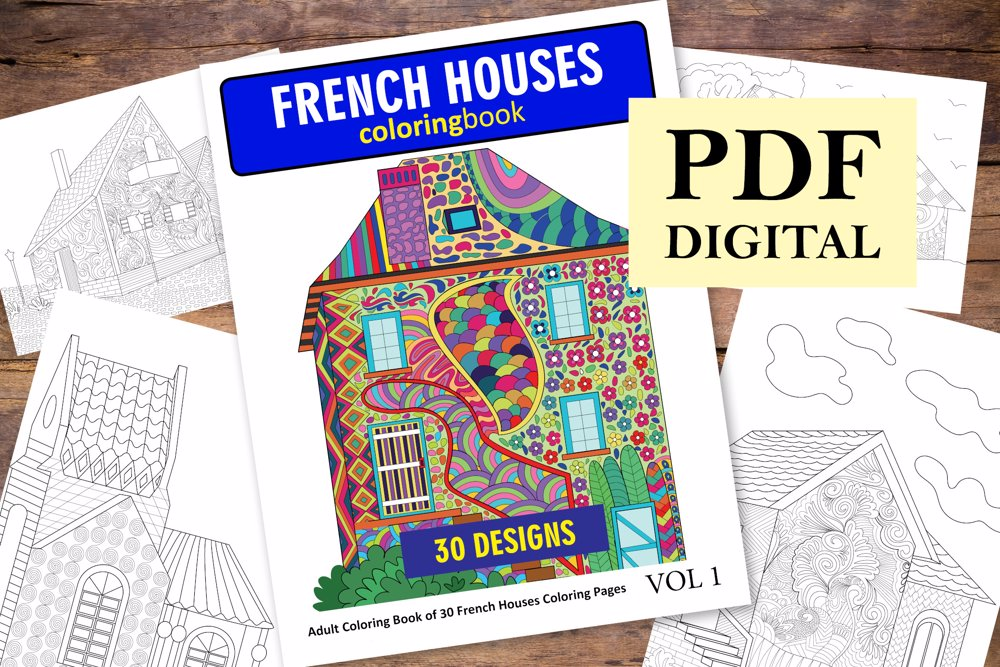 French Houses Coloring Book for Adults