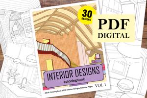 Interior Designs Coloring Book for Adults