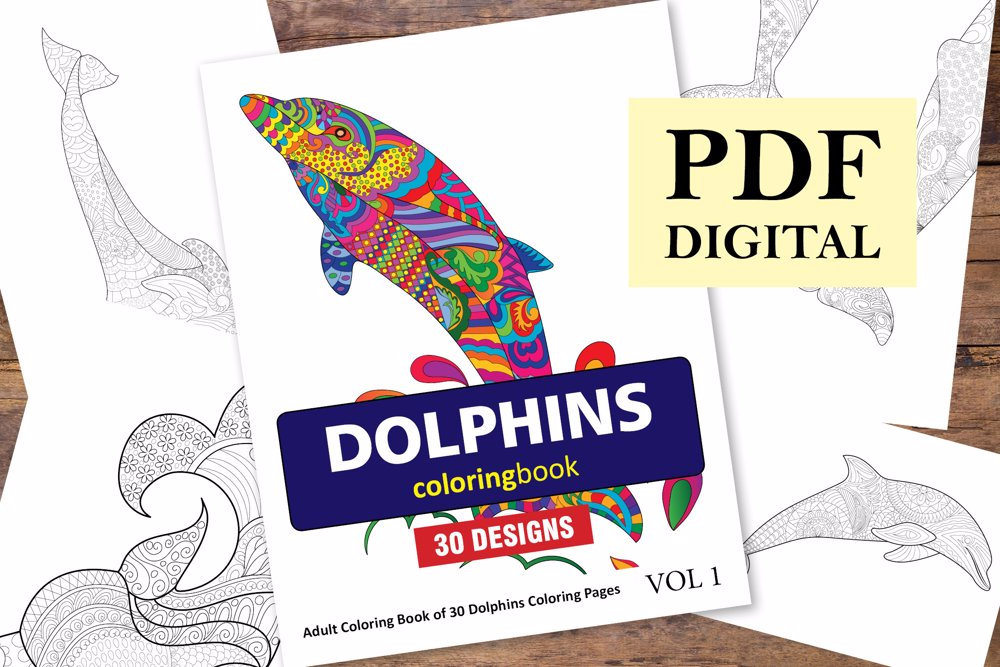 Dolphins Coloring Book for Adults