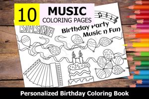 Music Theme Personalized Birthday Coloring Book