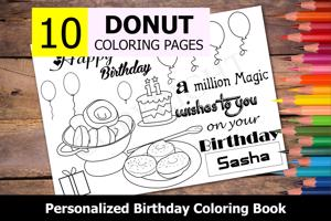 Donut Theme Personalized Birthday Coloring Book
