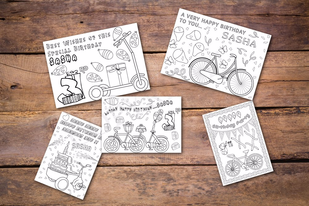 Cycling Theme Personalized Birthday Coloring Book