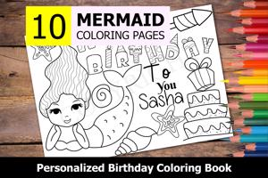 Mermaid Theme Personalized Birthday Coloring Book