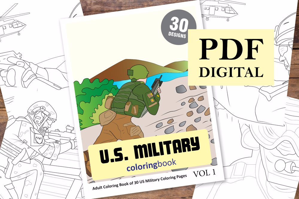 US Military Coloring Book for Adults