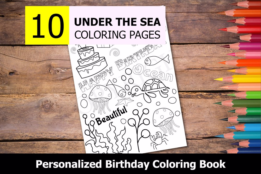 Under the Sea Theme Personalized Birthday Coloring Book
