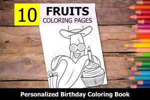 Fruits Theme Personalized Birthday Coloring Book