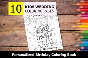 Kids Wedding Theme Personalized Birthday Coloring Book