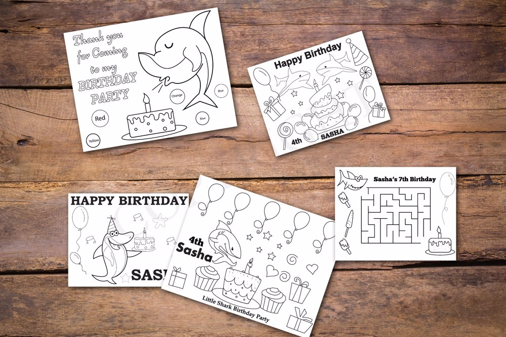 Shark Theme Personalized Birthday Coloring Book