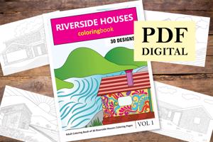 Riverside Houses Coloring Book for Adults