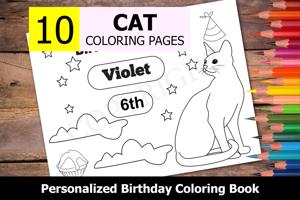 Cat Theme Personalized Birthday Coloring Book