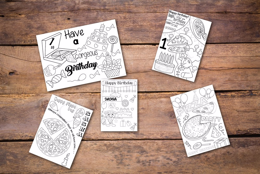 Pizza Theme Personalized Birthday Coloring Book