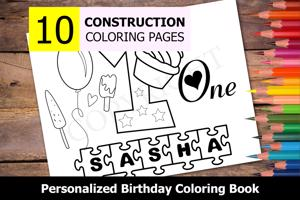 1st Birthday Theme Personalized Birthday Coloring Book