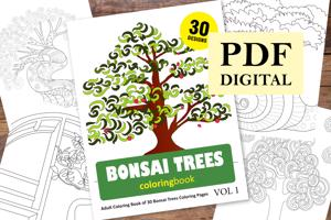 Bonsai Trees Coloring Book for Adults