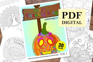 Happy Thanksgiving Coloring Book for Adults