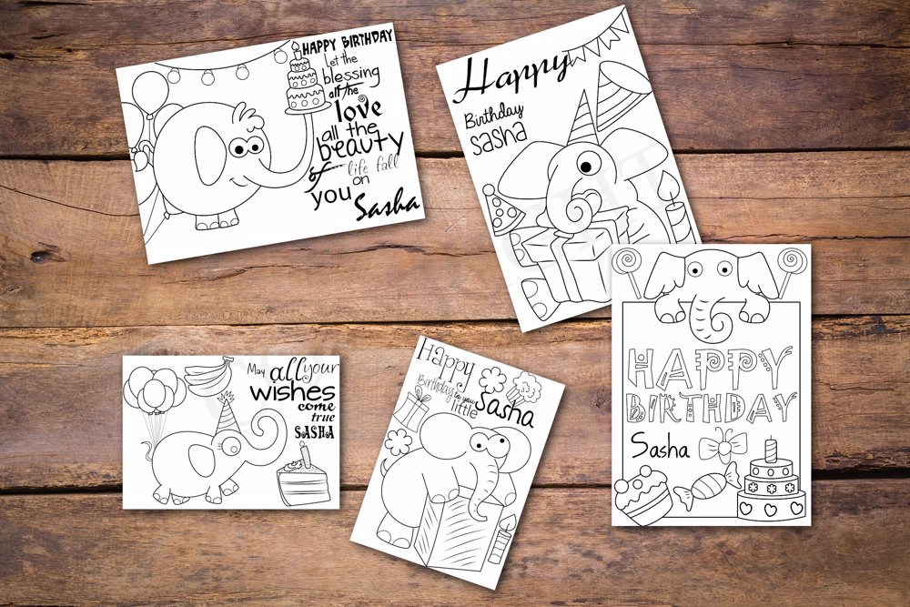 Elephants Theme Personalized Birthday Coloring Book